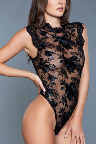 1 Pc High Neck And Semi-sheer Mesh Base With Floral Embroidery Bodusuit