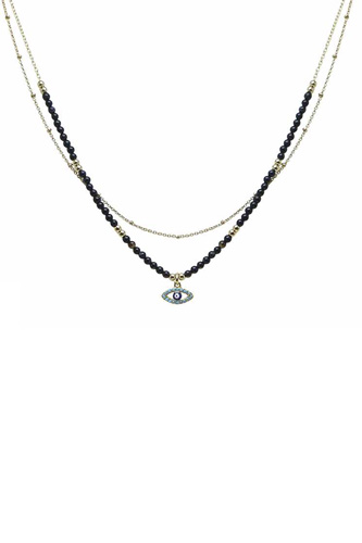 2 Layered Metal Seed Bead Evil Eye Pendant Necklace