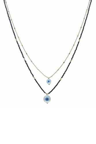 Seed Bead Evil Eye Pendant Layered Necklace