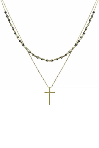 2 Layered Metal Chain Seed Bead Cross Pendant Necklace