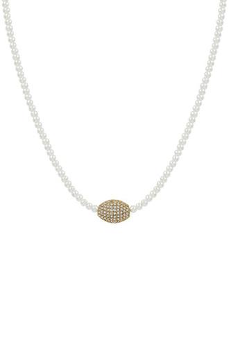 Oval Rhinestone Pendant Pearl Bead Necklace