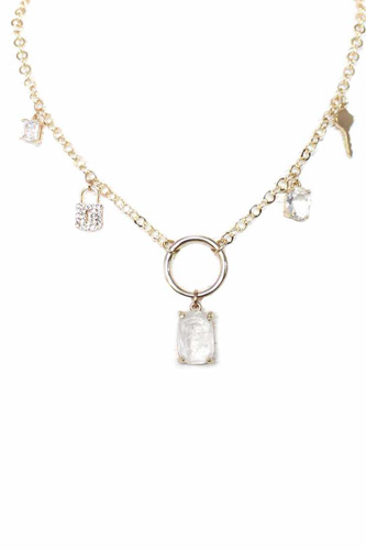 Metal Chain Crystal Stone Lock And Key Dangle Necklace