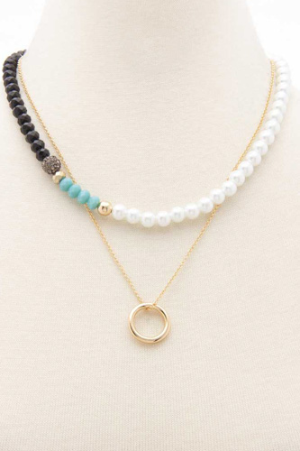 Crystal Pearl Mix Bead 2 Layered Metal Chain Round Pendant Necklace