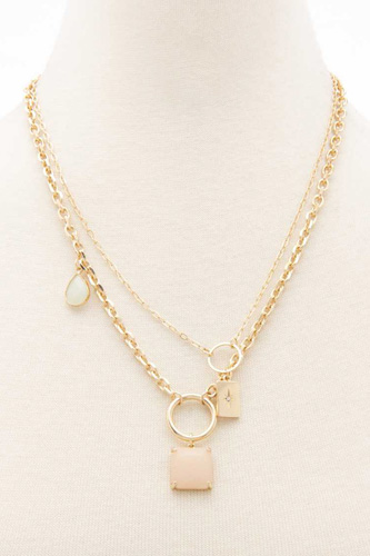 2 Layered Metal Chain Rectangle Pendant Necklace
