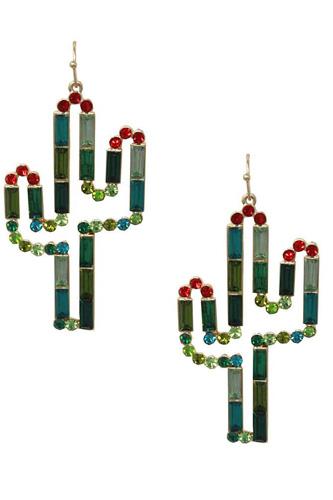 Rhinestone Cactus Dangle Earring