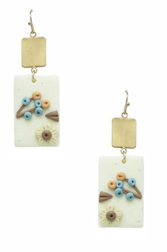 Clay Flower Rectangle Dangle Earring