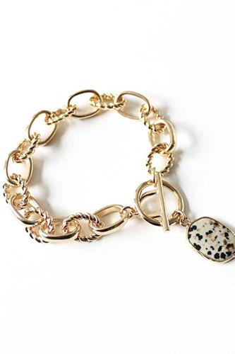 Metal Rhinestone Pearl Bead Toggle Clasp Multi Bracelet