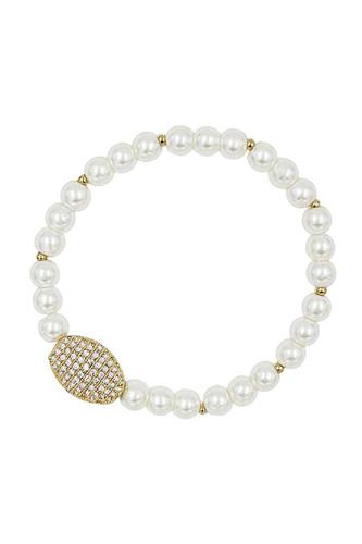 Oval Metal Rhinestone Pearl Bead Stretch Bracelet