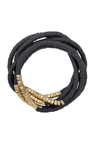 Metal Rubber Disc Bead Stretch Multi Bracelet 5 Pc Set