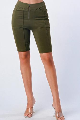 Zip Up Biker Shorts
