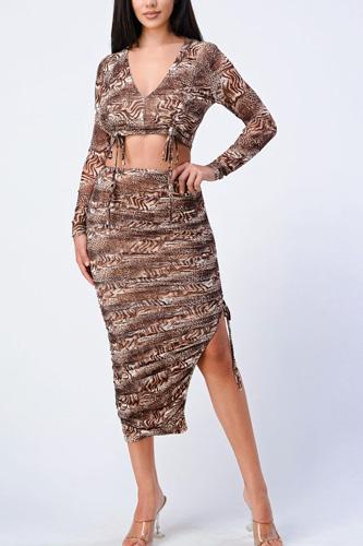 Animal Print Side Shirring Top And Midi Skirt Set