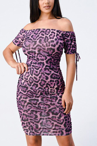Leopard Print Off Shoulder Shirring Bodycon Dress