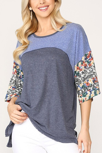 Colorblock Knit And Floral Print Mixed Top With Dolman Sleeve