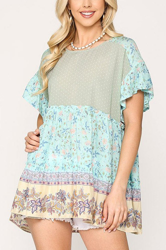 Dot And Floral Print Mixed Ruffle Top With Back Keyhole