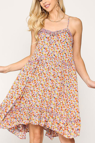 Ditsy Floral Print Sleeveless Dress With Lace Trim