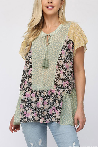 Floral Mixed Print Chiffon Short Top With Front Tassel Tie