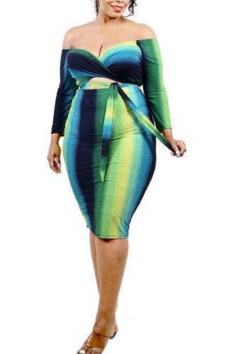 Plus Gradient Striped Off Shoulder Midi Dress
