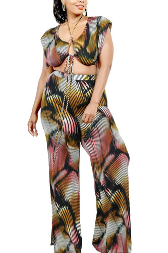 Plus Knitted Color Painting 2 Piece Pants Set