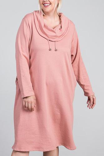 Turtleneck Hidden Pocket Long Sleeve Maxi Dress