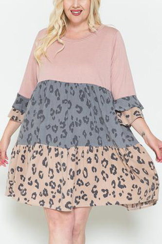 Leopard Print Ruffled And Bell Sleeve Dress