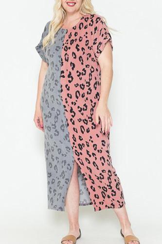 Front Slit Dolman Leopard Print Maxi Dress