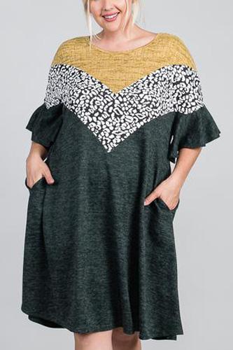 Ruffled Sleeve A Line Hidden Pocket Color Block Dress