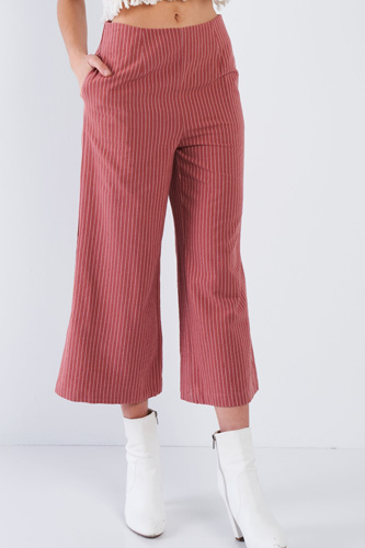 Dusty Rose Pink Cotton Pinstripe Gaucho Pants