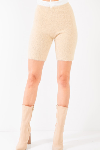 Oatmeal Beige Knit High Waist Stretchy Warm Fuzzy Biker Shorts