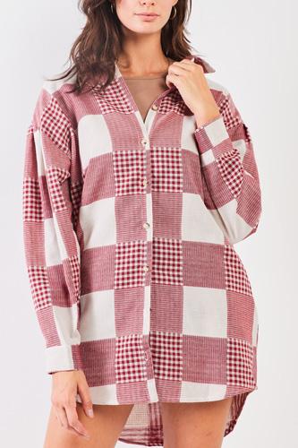 Red & Natural 90s Multi Plaid Oversized Button Down Mini Shirt Dress