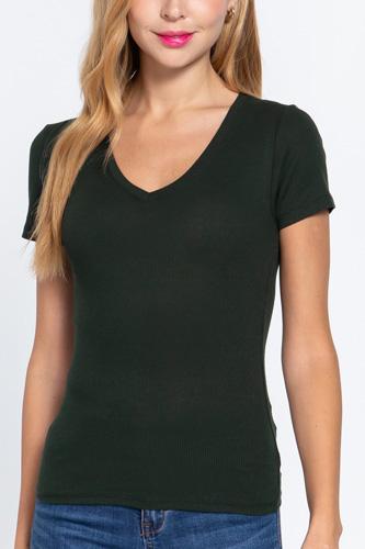 Short Sleeve V-neck Rib Top