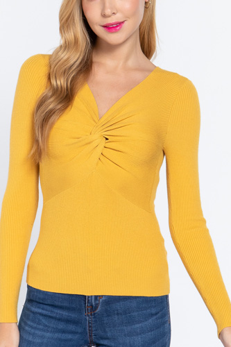 Long Slv V-neck Knotted Sweater
