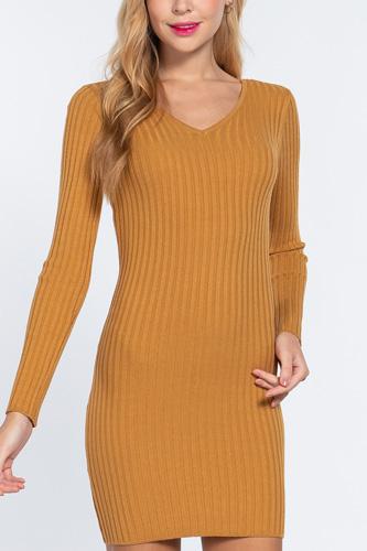 Long Slv V-neck Sweater Mini Dress