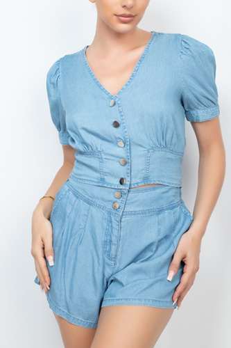 Button-front Denim Top And Shorts Set