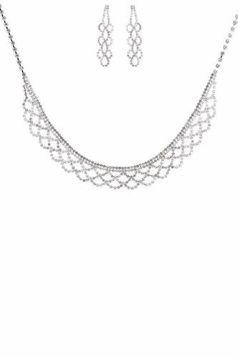 Statement Crystal Rhinestone Necklace Earring Set