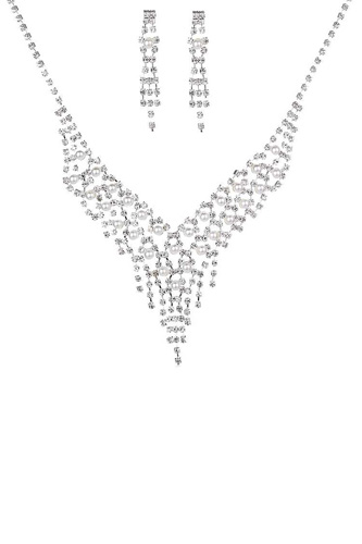 Rhinestone Pearl Bead Necklace And Earring Set