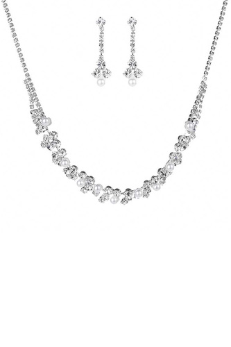Rhinestone Crystal Pearl Necklace And Earring Set