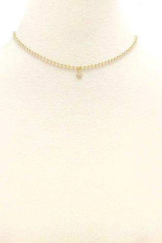 Metal Ball Chain Rhinestone Star Pendant Necklace