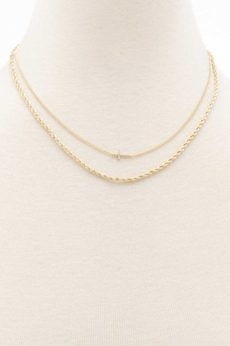 Dainty Cross Twisted Link Layered Necklace