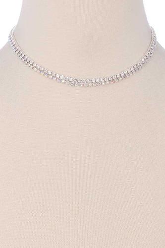 2 Layered Line Rhinestone Necklace