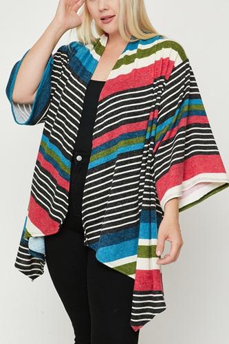 Kimono Style Striped Cardigan