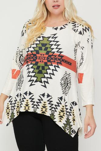Geometric/tribal Sublimation Print Tunic Top