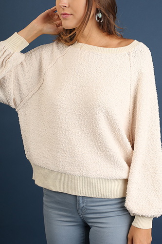 Puff Sleeve Boat Neck Sweater