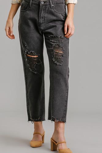 5 Pockets Non-stretch Straight Cut Distressed Denim Jeans With Raw Hem