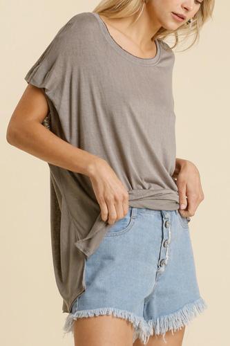 Short Sheer Dolman Sleeve Scoop Neck Top With Side Slit