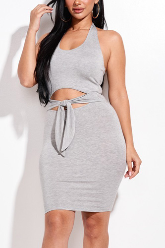 Solid Halter Neck Mini Dress With Front Cutout And Waist Tiw
