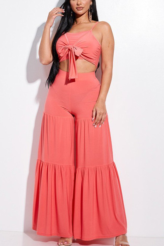 Solid Tie Front Spaghetti Strap Tank Top And Tiered Wide Leg Pants Two Piece Set