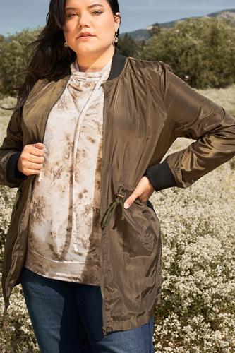 Plus Olive Drawstring Trim Zip-up Fitted Coach Rain Jacket