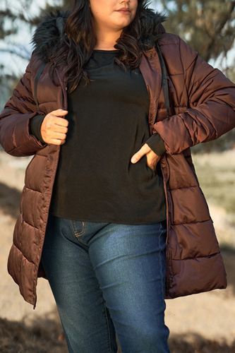 Plus Glossy Long Fitted Vegan Fur Hood Detail Winter Puffer Jacket