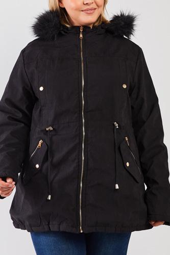 Plus Size Vegan Fur Double-sided Cotton Twill Parka & Puffer Jacket