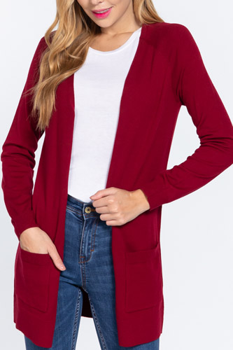 Raglan Slv Open Sweater Cardigan